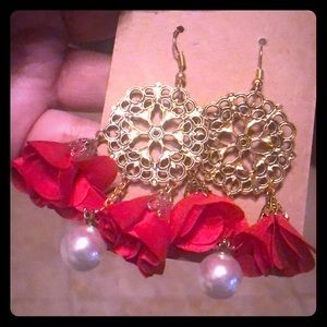 Red and Gold Chandelier Flowered Earrings